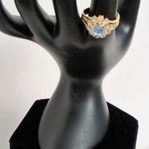 Jewelry - Ring With Blue Glass Stone & Clear Rhinestones